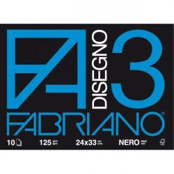 Album da disegno col nero Fabriano F3 24x34 125gr 10fg cf 10pz